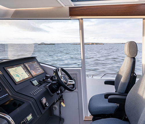 The Dashboard has room for two 12 Simrad plotters