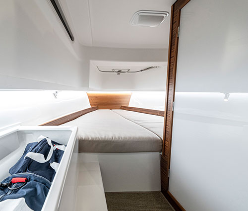 The interior of the boat exudes sheer quality and feels spacious and airy.