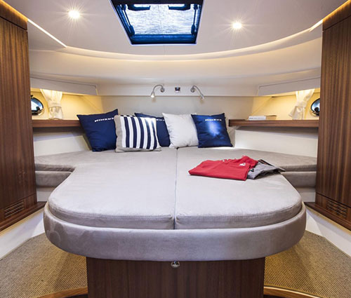 There are three two berth cabins, one master cabin with ensuite bathroom